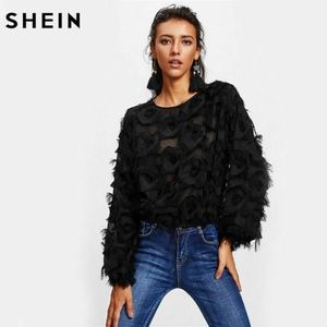 Shein Black Long Sleeve Feather Fringe Top XS